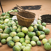 A pile of fresh watermelons in Minnanthu Village in Bagan, Myanmar. Set amidst the archeological ruins of the Plain of Bagan, the tiny Minnanthu Village retains the traditional way of life.