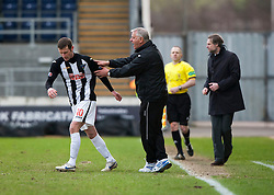 Jim Jeffries, Dunfermline's manager with Dunfermline's Andy Kirk..Falkirk 1 v 0 Dunfermline, 16/2/2013..©Michael Schofield.