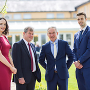 05.05. 2017.                                                 <br /> JP McManus today announced a further &euro;32 million investment in Third Level Education Scholarships for eligible students throughout Ireland, North and South. He was joined by the Minister for Education &amp; Skills, Richard Bruton T.D. and former All Ireland Scholarship recipients to make the announcement in Adare, Co Limerick. <br /> <br /> Pictured at the event in the Dunraven Arms were, Rachel Lavin, Kilrane Co. Wexford, 2010 Scholarship recipient, JP McManus, Minister for Education &amp; Skills, Richard Bruton T.D. and Dylan Carroll, Parteen Co. Clare, 2012 scholarship recipient. Picture: Alan Place.