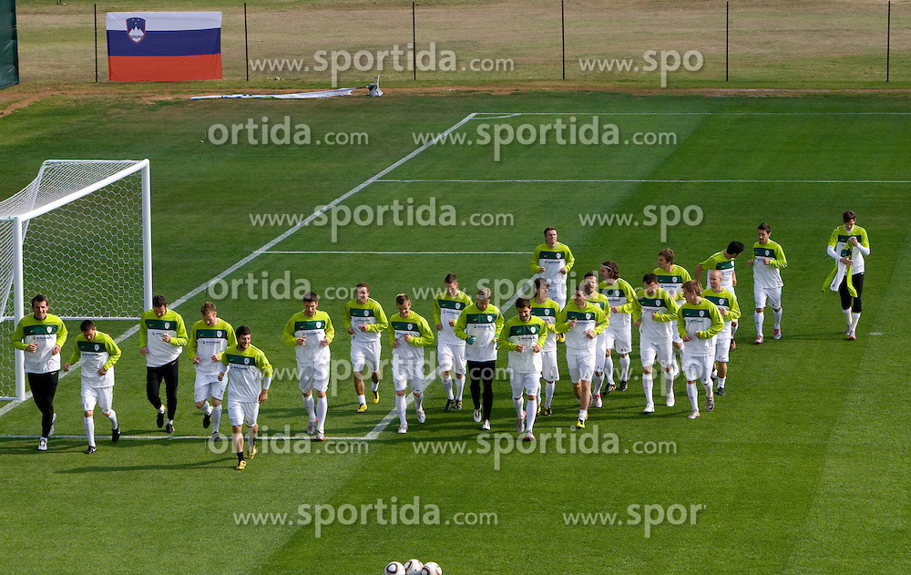 Team of Slovenia during a training session at  Hyde Park High School Stadium on June 10, 2010 in Johannesburg, South Africa.  (Photo by Vid Ponikvar / Sportida)