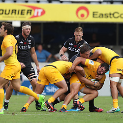DURBAN, SOUTH AFRICA - APRIL 08: Etienne Oosthuizen of the Cell C Sharks looks to tackle Agustin Creevy (captain) of the Jaguares during the Super Rugby match between Cell C Sharks and Jaguares at Growthpoint Kings Park on April 08, 2017 in Durban, South Africa. (Photo by Steve Haag/Gallo Images)