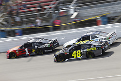 August 12, 2018 - Brooklyn, Michigan, United States of America - Jamie McMurray (1), Kyle Larson (42) and Jimmie Johnson (48) battle for position during the Consumers Energy 400 at Michigan International Speedway in Brooklyn, Michigan. (Credit Image: © Chris Owens Asp Inc/ASP via ZUMA Wire)