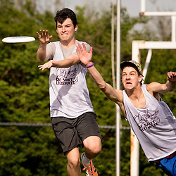 Lisa Johnston | lisajohnston@archstl.org | Twitter: @aeternusphoto<br /> Defenseman senior Cole Arnold leaped to stop sophomore Jack Hummel from making the frisbee catch. <br /> DeSmet Jesuit High School's Ultimate Frisbee team is have won eight championships in a row and are in the middle of another winning season.