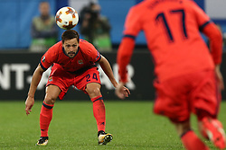 September 28, 2017 - Saint Petersburg, Russia - Alberto de la Bella of FC Real Sociedad vie for the ball during the UEFA Europa League Group L football match between FC Zenit Saint Petersburg and FC Real Sociedad at Saint Petersburg Stadium on September 28, 2017 in St.Petersburg, Russia. (Credit Image: © Igor Russak/NurPhoto via ZUMA Press)
