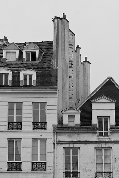 """Black and white photograph of houses in Paris by Karl R Lilliendahl. This photo is available as Open and Limited Edition Giclee Print in four different sizes. Click on """"Get Print"""" to see more details."""