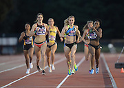 May 3, 2018; Stanford, CA, USA; Lindsey Butterworth (12) defeats Jenna Westaway (131) and Chrishuna Williams (132) to win the women's 800m in 2:03.33 during the Payton Jordan Invitational at Cobb Track &  Angell Field.Williams was second in 2:03.35 and Westaway was third in 2:03.50.