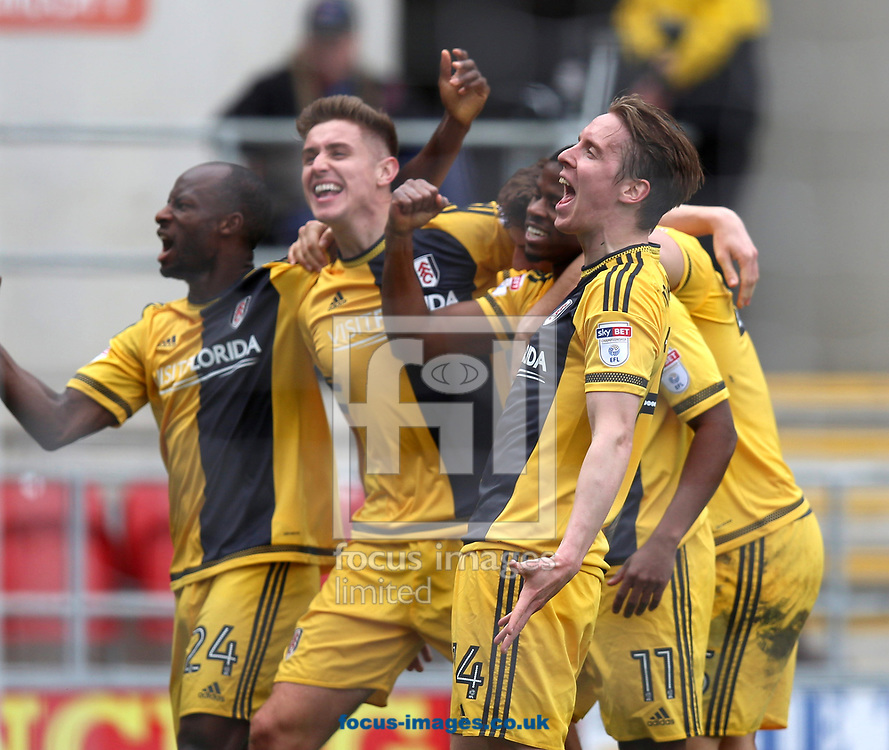 Sone Aluko of Fulham scores the opening goal and celebrates with team mates during the Sky Bet Championship match at the New York Stadium, Rotherham<br /> Picture by James Wilson/Focus Images Ltd 07709 548263<br /> 01/04/2017