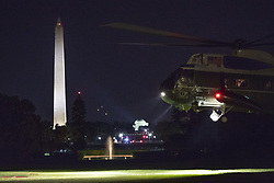 September 29, 2018 - Washington, District of Columbia, U.S. - United States President Donald J. Trump aboard Marine One, returns to The White House in Washington, DC, after attending a political rally in West Virginia, September 29, 2018.Credit: Chris Kleponis / Pool via CNP (Credit Image: © Chris Kleponis/CNP via ZUMA Wire)