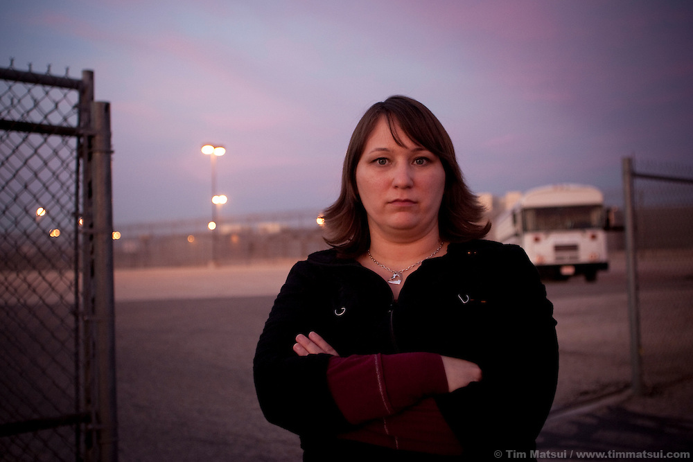 Erika, a surivor of a kidnapping, beating, and rape by her previous boyfriend, outside the Eyeman Complex, a collection of prisons outside Phoenix, Arizona.