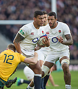Twickenham, United Kingdom. {L}Reece HODGE tackling {C} Nathan HUGHES and {R} Courtney LAWES, during the Old Mutual Wealth Series Rest Match: England vs Australia, at the RFU Stadium, Twickenham, England, <br /> <br /> Saturday  03/12/2016<br /> <br /> [Mandatory Credit; Peter Spurrier/Intersport-images]