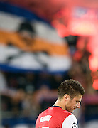 A subdued Olivier Giroud of Arsenal lines up before the Champions League group match between Montpellier and Arsenal at the Stade la Mosson, Montpellier, France, 18th September 2012. Eoin Mundow/Cleva Media