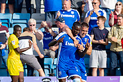 Gillingham FC forward Mikael Ndjoli  (10) scores a goal (1-0)  and celebrates with team mate during the EFL Sky Bet League 1 match between Gillingham and Wycombe Wanderers at the MEMS Priestfield Stadium, Gillingham, England on 14 September 2019.