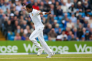 Sri Lanka Dushmantha Chameera  celebrates the wicket of England & Worcestershire All-rounder Moeen Ali   during day 2 of the first Investec Test Series 2016 match between England and Sri Lanka at Headingley Stadium, Headingley, United Kingdom on 20 May 2016. Photo by Simon Davies.