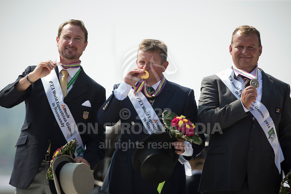 Boyd Exell, (AUS), Weber Chester, (USA), Theo Timmerman, (NED) - Driving Cones - Alltech FEI World Equestrian Games&trade; 2014 - Normandy, France.<br /> &copy; Hippo Foto Team - Dirk Caremans<br /> 07/09/14