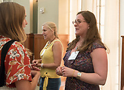 A faculty member meets her mentee for the first time during the Women's Mentoring Meet and Greet event on Sept. 4, 2018 in Walter Rotunda. Photo by Hannah Ruhoff