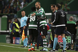 September 27, 2017 - Na - Lisbon, 09/27/2017 - Sporting Clube de Portugal received FC Barcelona tonight at the Alvalade stadium in the second qualifying round of Group D of the 2017/2018 Champions League. Replacement of Seydou Doumbia by Bas Dost  (Credit Image: © Atlantico Press via ZUMA Wire)