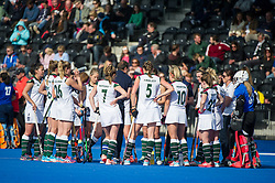 Surbiton team talk at the end of the first period. Holcombe v Surbiton - Investec Women's Hockey League Final, Lee Valley Hockey & Tennis Centre, London, UK on 23 April 2017. Photo: Simon Parker