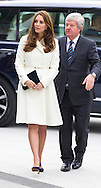 Her Royal Highness the Duchess of Cambridge and Sir Keith Mills arrive for a reception at the Spinnaker Tower in Portsmouth in her capacity as patron of the 1851 Trust. The trust aims to inspire young people into sailing and the marine industry. <br /> Picture date: Thursday February 12, 2015.<br /> Photograph by Christopher Ison &copy;<br /> 07544044177<br /> chris@christopherison.com<br /> www.christopherison.com