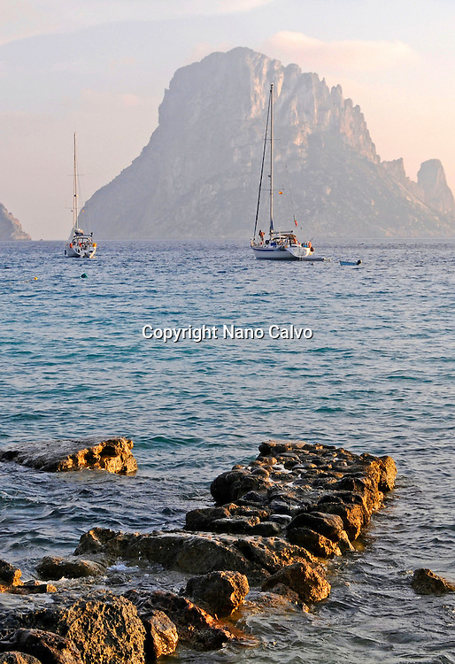 View of Es Vedra from Cala d•Hort beach, Ibiza