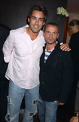 Left to right, TV presenter GILES VICKERS-JONES and fashion advisor JULIAN BENNET at a party to celebrate the opening in London of Delhi's finest Indian restaurant Moti Mahal at 45 Great Queen Street, London WC2 on 27th July 2005.<br />