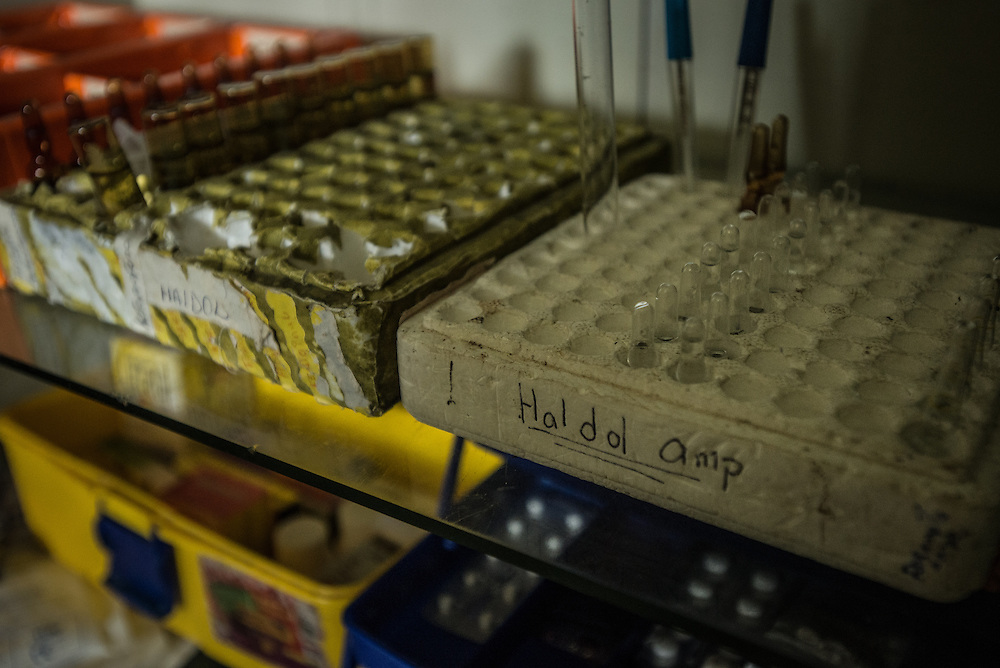 BARQUISIMETO, VENEZUELA - JULY 28, 2016: One of the most severe drug shortages affecting the hospital is the lack of Haldol (Haloperidol) a typical antipsychotic medication used to treat schizophrenia. The nursing staff said it is the drug that they rely on the most to keep patients stable, and that patients suffer much more when they are forced to go without it.  The economic crisis that has left Venezuela with little hard currency has also severely affected its public health system, crippling hospitals like El Pampero Psychiatric Hospital by leaving it without the resources it needs to take care of patients living there, the majority of whom could live much more fulfilling lives if they had the medicines that they need. The hospital has not employed a psychiatrist for over two years. Drugs used to combat bipolar disorder, epilepsy, schizoaffective disorder and chronic anxiety are now in short supply, as are numerous sedatives and tranquilizers needed to care for patients. Members of the nursing staff debate daily which patients are the most unstable, to decide which patients will receive pills and which will go without. When a patient loses control, often the only thing they can do is lock them in an isolation cell to prevent them from hurting themselves, other patients and members of the staff.  PHOTO: Meridith Kohut