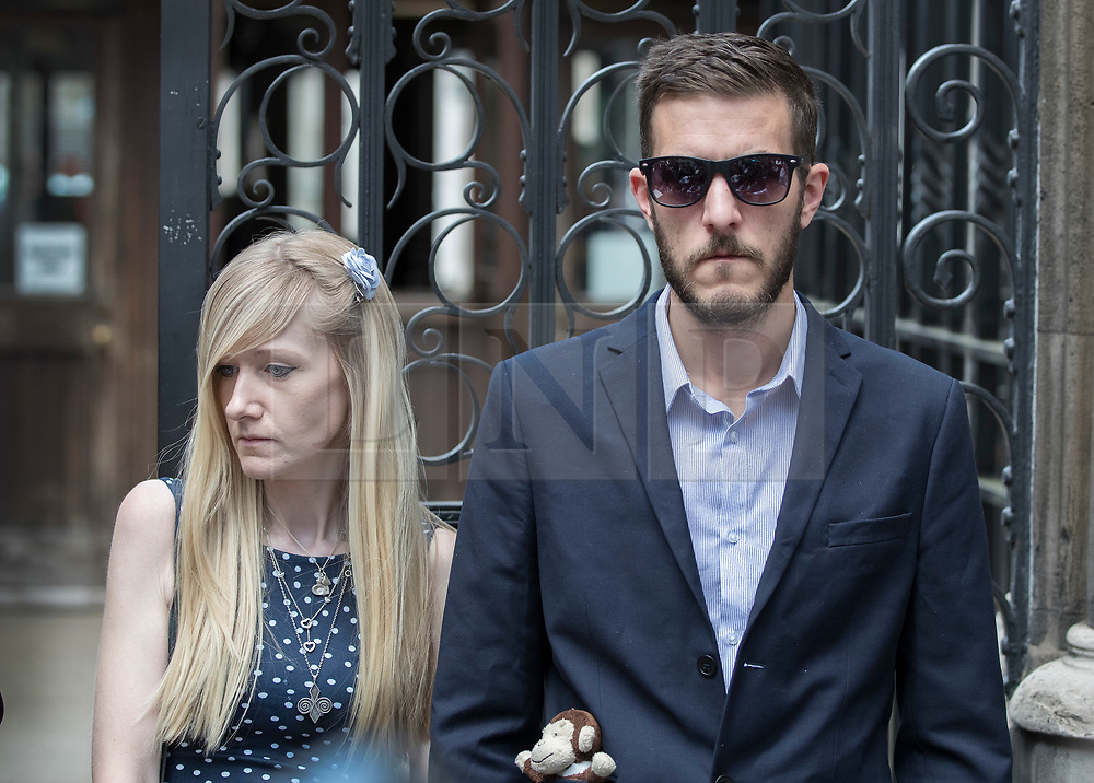 © Licensed to London News Pictures. 10/07/2017. Connie Yates and Chris Gard leave The High Court. The parents of terminally ill Charlie Gard are returning to court in light of claims of new evidence relating to potential treatment for his condition. An earlier lengthy legal battle ruled that Charlie could not be taken to the US for experimental treatment. London, UK. Photo credit: Peter Macdiarmid/LNP