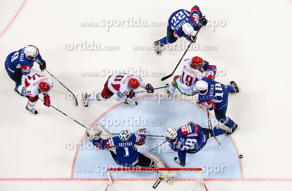 Tomaz Razingar of Slovenia, Andrej Hocevar, goalkeeper of Slovenia, Ales Kranjc of Slovenia, Marcel Rodman of Slovenia and Gregory Kuznik of Slovenia during ice-hockey match between Slovenia and Belarus of Group G in Relegation Round of IIHF 2011 World Championship Slovakia, on May 8, 2011 in Orange Arena, Bratislava, Slovakia. Belarus defeated Slovenia 7-1 and stays in Elite Group A. (Photo By Vid Ponikvar / Sportida.com)