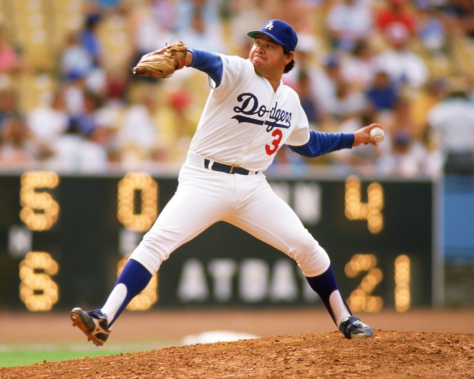 LOS ANGELES - 1988:  Fernando Valenzuela of the Los Angeles Dodgers pitches during an MLB game at Dodger Stadium in Los Angeles, California during the 1988 season.  (Photo by Ron Vesely).  Subject:   Fernando Valenzuela