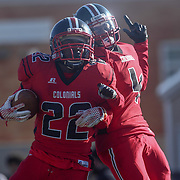 William Penn defensive back Lance	Edwards (22) celebrates with teammate Jared Gore (4) after returning a block punt 52 yards for a touchdown during a Week 9 DIAA football game between William Penn and Charter School of Wilmington Saturday, Nov. 05, 2016, at William Penn Stadium in New Castle.