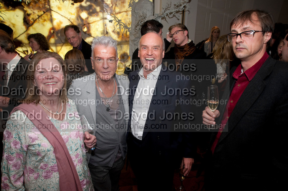 VICTORIA MATHER; NICKY HASLAM; NICHOLAS COLERIDGE; RODERICK CAMPBELL Book launch party for the paperback of Nicky Haslam's book 'Sheer Opulence', at The Westbury Hotel. London. 21 April 2010
