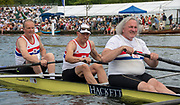 Henley on Thames, England, United Kingdom, Friday, 05.07.19, members of the Lightweight Men's Four, LM4-,  who won the World Rowing Championships in 1979, paddle down to the Start, ready for the Row Past, celebrating the 40th Anniversary of their win, Ian MCNUFF, centre, Henley Royal Regatta,  Henley Reach, [©Karon PHILLIPS/Intersport Images]<br /> <br /> 15:56:41 1919 - 2019, Royal Henley Peace Regatta Centenary,