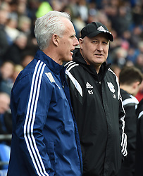 Ipswich Town Manager Mick McCarthy and Cardiff City Manager Russell Slade on the side-line at Cardiff City Stadium - Mandatory by-line: Paul Knight/JMP - Mobile: 07966 386802 - 12/03/2016 -  FOOTBALL - Cardiff City Stadium - Cardiff, Wales -  Cardiff City v Ipswich Town - Sky Bet Championship