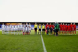 England and Russia players line up - Mandatory by-line: Matt McNulty/JMP - 19/09/2017 - FOOTBALL - Prenton Park - Birkenhead, United Kingdom - England v Russia - FIFA Women's World Cup Qualifier