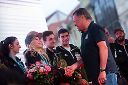Major of Ljubljana Zoran Jankovic and Janja Garnbret during PZS reception of Slovenian national climbing team after IFSC Climbing World Championships in Hachioji (JPN) 2019, on August 23, 2019 at Ministry of Education, Science and Sport, Ljubljana, Slovenia. Photo by Grega Valancic / Sportida
