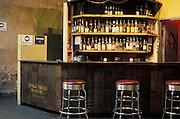 Empty sunlit bar