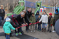 A ribbon cutting ceremony was held Sunday morning for the newly redesigned Sycamore Play Lot located at 51st and Greenwood.<br /> <br /> 9743 - Jackson Park Advisory Council President, Loise Mcurry, Mayor Rahm Emanuel, Fourth Ward Alderman, Will Burns, Superintendent of the Chicago Park District, Michael Kelly, Gabe McGiver, Oscar Bohnenkamp, Morgan Kelly, Maya Kelly and Avi McGiver