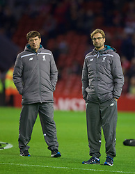 LIVERPOOL, ENGLAND - Thursday, November 26, 2015: Liverpool's manager Jürgen Klopp and assistant manager Zeljko Buvac before the UEFA Europa League Group Stage Group B match against FC Girondins de Bordeaux at Anfield. (Pic by David Rawcliffe/Propaganda)