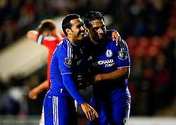 Pedro of Chelsea celebrates with Radamel Falcao Garcia after scoring a goal to make it 1-4 - Mandatory byline: Rogan Thomson/JMP - 07966 386802 - 23/09/2015 - FOOTBALL - Bescot Stadium - Walsall, England - Walsall v Chelsea - Capital One Cup.