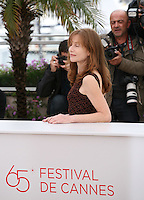 Isabelle Huppert, at the DA-REUN NA-RA-E-SUH (IN ANOTHER COUNTRY) film photocall at the 65th Cannes Film Festival. Monday 21st May 2012 in Cannes Film Festival, France.