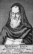 Roger Bacon (c1214-1292) English experimental scientist, philosopher and Franciscan (Grey Friar). Known as 'Doctor Mirabilis'. Copperplate engraving from Friedrich Roth-Scholtz 'Icones Virorum', Leipzig, 1725.