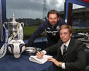Scotland under 17 cap Craig Wighton, pictured with Dundee manager Paul Hartley, signs a contract extension which ties him to Dens Park until 2017 - Dundee v Partick Thistle, SPFL Premiership at Dens Park<br /> <br />  - &copy; David Young - www.davidyoungphoto.co.uk - email: davidyoungphoto@gmail.com