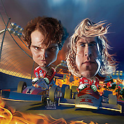Caricature: Rush. A biographical sports drama film centered on the rivalry between Formula One drivers James Hunt (Chris Hemsworth) and Niki Lauda (Daniel Bruhl).  3D and Photoshop. Originally created for Penthouse Movie Review.