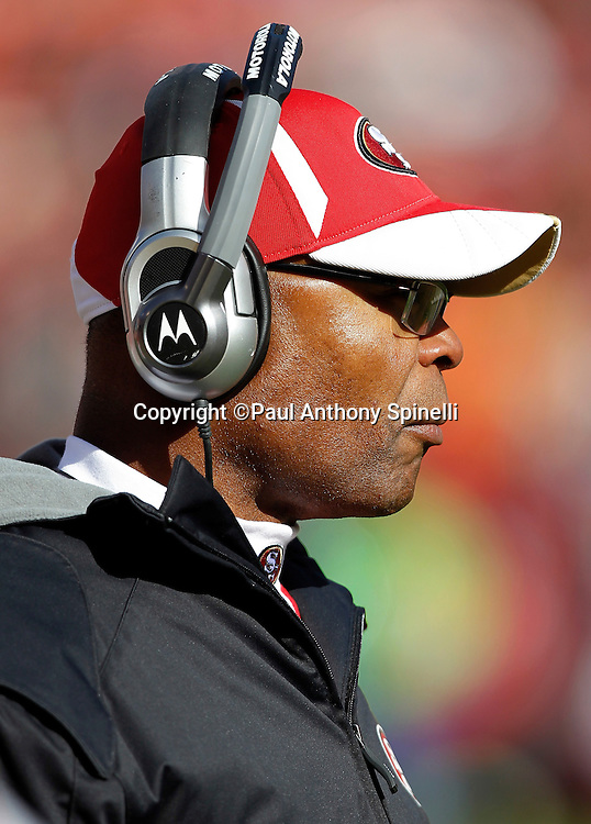 San Francisco 49ers head coach Mike Singletary looks on during the NFL week 11 football game against the Tampa Bay Buccaneers on Sunday, November 21, 2010 in San Francisco, California. The Bucs won the game 21-0. (©Paul Anthony Spinelli)