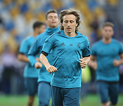 May 25, 2018 - Kiev, Ukraine - Real Madrid's Croatian midfielder Luka Modric during a Real Madrid team training session at the Olympic Stadium in Kiev, Ukraine on May 25, 2018, on the eve of the UEFA Champions League final football match between Liverpool and Real Madrid. (Credit Image: © Raddad Jebarah/NurPhoto via ZUMA Press)