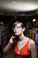 Young woman in library portrait