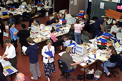 Members of staff at The University of Greenwhich during clearing day, August 18, 2000. Photo by Andrew Parsons/i-Images..
