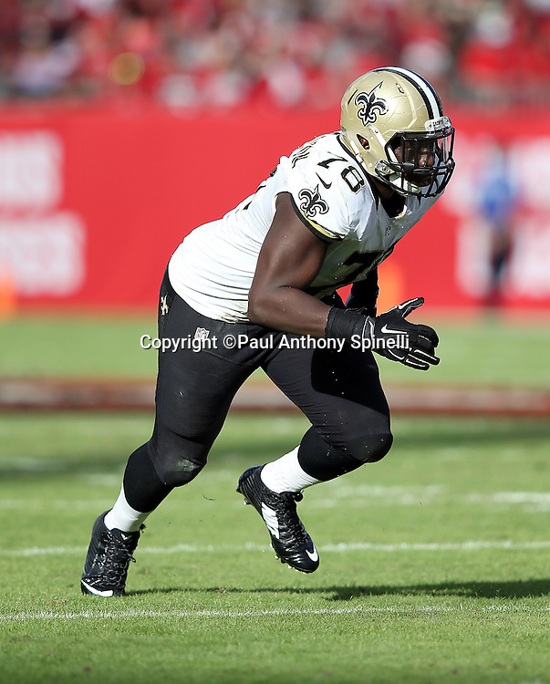 New Orleans Saints defensive end Bobby Richardson (78) chases the action during the 2015 week 14 regular season NFL football game against the Tampa Bay Buccaneers on Sunday, Dec. 13, 2015 in Tampa, Fla. The Saints won the game 24-17. (©Paul Anthony Spinelli)