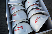 Hardhats wait to be used as props during the Milpitas Unified School District and San Jose Evergreen Community College District Community College Extension Ground Breaking Ceremony near Russell Middle School in Milpitas, California, on November 17, 2015. (Stan Olszewski/SOSKIphoto)