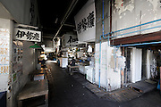 after hours, entrance to sorting and distribution area at Tsukiji Wholesale Fish Market,  Tokyo, Japan.