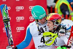 27.01.2013, Ganslernhang, Kitzbuehel, AUT, FIS Weltcup Ski Alpin, Slalom, Herren, 2. Lauf, im Bild v.l.: im Ziel  Felix Neureuther (GER)  mit Marcel Hirscher (AUT) // reacts after 2nd run of the mens Slalom of the FIS Ski Alpine World Cup at the Ganslernhang course, Kitzbuehel, Austria on 2013/01/27. EXPA Pictures © 2013, PhotoCredit: EXPA/ Markus Casna